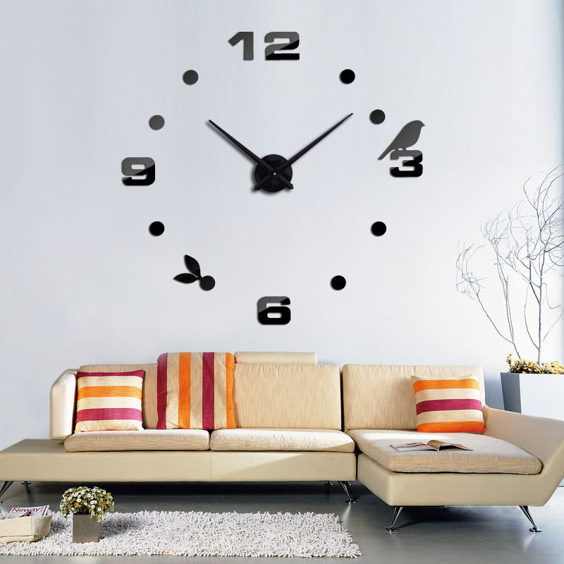 Top Fashion 3d Diy Acrylic Mirror Europe Quartz Wall Clock Still Life Clocks Home Decoration Stickers Living Room