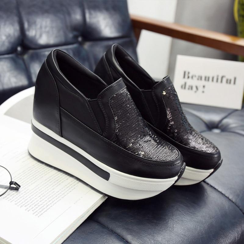 928eec5796304c Chaussures Femmes Simple forme Tendance Confortable Mode Automne Paillettes  blanc Casual Nouvelle Plate Noir Plates Respirant 2018 qvtzY8wxv