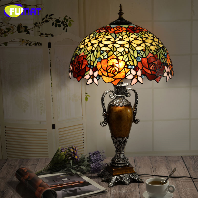 FUAMT European Vintage Tiffany Art Light Living Room Bed Room Table Lamps Creative Warm Retro Stained Glass LED Table Lamp fumat classic table lamp european baroque stained glass lights for living room bedside table light creative art led table lamps