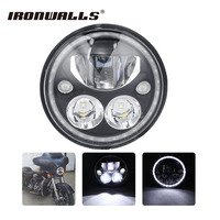 Ironwalls 7inch Motorcycle LED Headlight Headlamp Projector Halo Custom Dynamic For Harley Davidson Touring Softail Yamaha