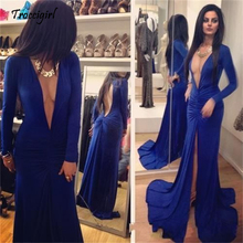 New Royal blue Mermaid Prom Evening Party Pageant gown dresses Long-sleeve custom