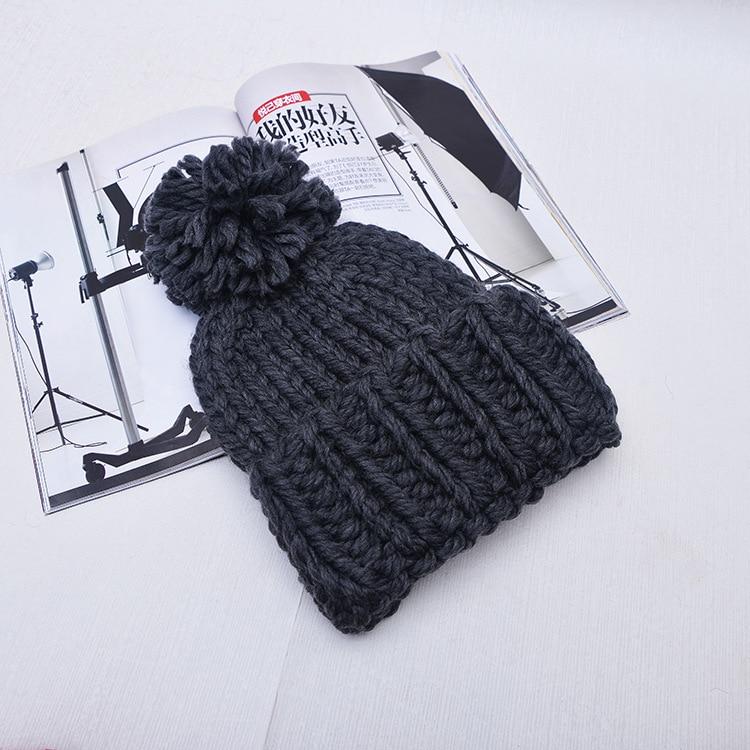 2019 Winter Women Coarse Woolen Pom Pom Knitted Beanie Hat Stylish Warm Thicker Skullies Hats Bonnet Solid Beanies in Women 39 s Skullies amp Beanies from Apparel Accessories