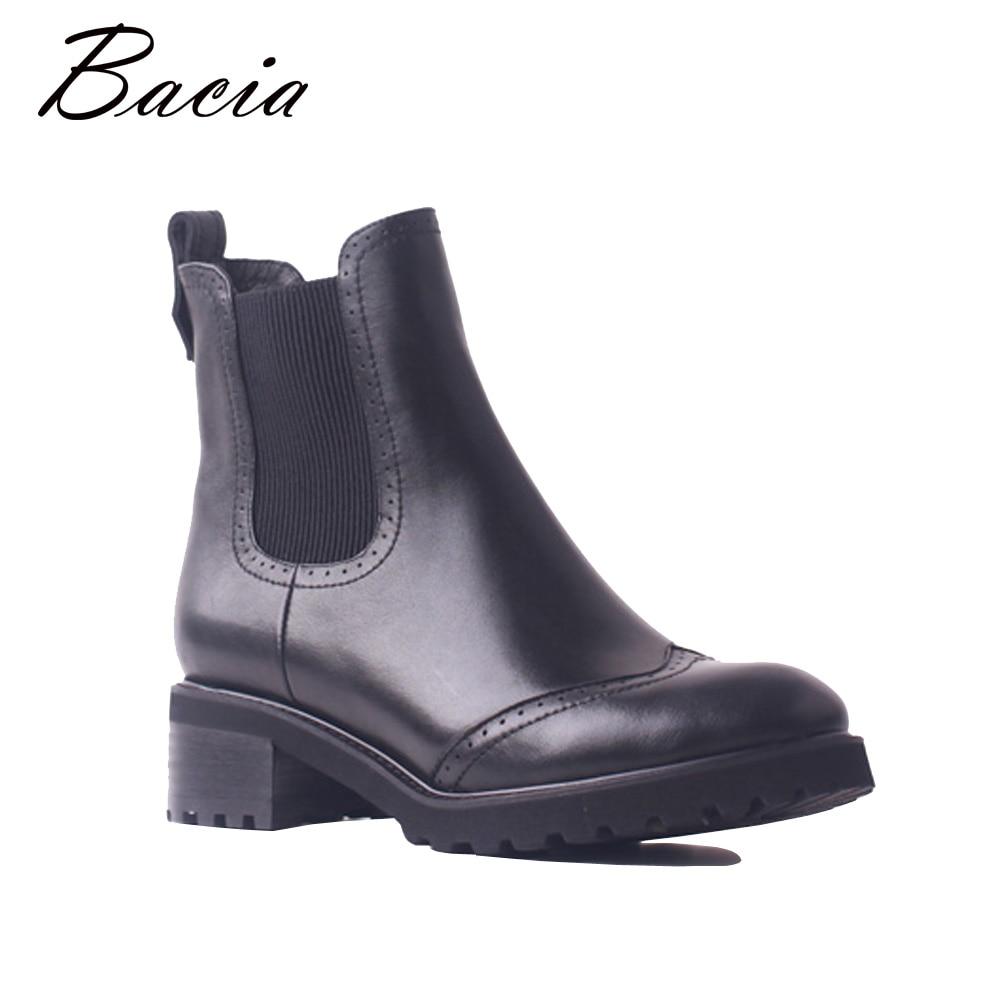 Bacia de mujer de cuero genuino zapatos de moda Zapatos de tobillo botas Chelsea de cuero de vaca 4,2 cm tacón tacones cuadrados invierno otoño zapatos hechos a mano de SB107