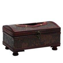 Прямоугольный Ретро деревянный бумажный чехол, коробка для салфеток, держатель для салфеток, домашний декор