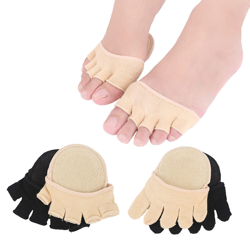 1Pair Toe Separator Pads Elasticity Foot Care Half Insoles Five Finger Toe Socks Toe Support Pads Insoles Forefoot Pain Relief