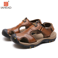 גברים אופנה קיץ סנדלי חוף נעלי עור אמיתיות לנשימה סנדלים מזדמנים חאקי חום SF234 Zapatos Hombre