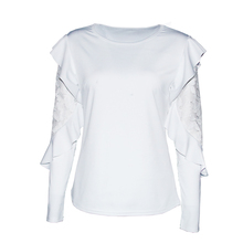 2018 Sexy Ruffle Lace Blouse Shirt Women Long Sleeve Floral White Blouses Female Tops Elegant Fashion Blouse Shirts blusas femme
