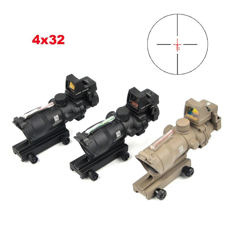 ACOG 4X32 Réel Réticule Fiber Optique Portée Rouge Lumineux Sight Avec Mirco Rouge Dot Sight 20mm Rail chasse Scopes