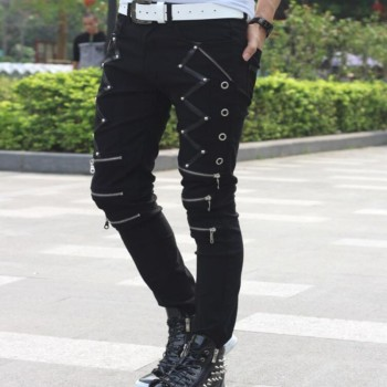 Mens Punk Skinny Pants Cotton Casual Zipper Slim Fit Black Goth