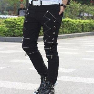 Image 5 - Мужские обтягивающие брюки в стиле панк, Стильные повседневные хлопковые брюки на молнии, черные брюки Goth, весна 2019
