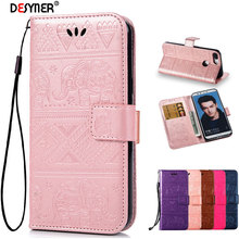 Desyner Flip Coque for huawei honor 6A 7X 9 Lite Elephant case Wallet Leather Cover Phone Case