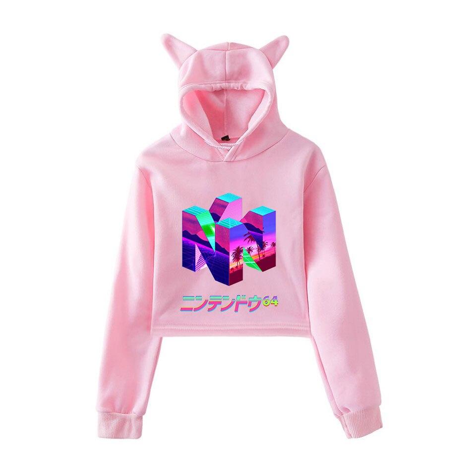 Vaporwave Hoodies Sweatshirts Kawaii Pastel Aesthetic Harajuku Cat Hoodie Sweatshirts Korean Style Women Casual Summer Crop Tops