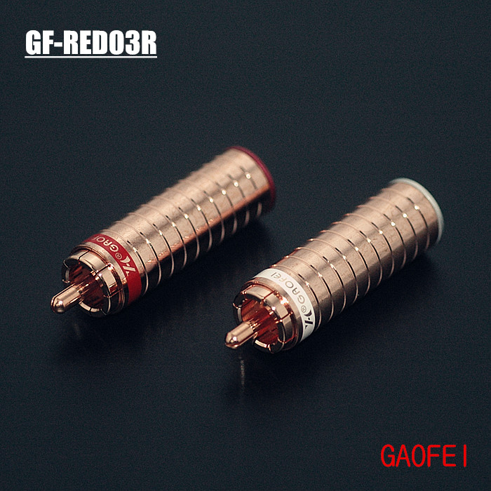 4pcs Hifi audio gaofei GF RED03R Red copper RCA plug socket connector