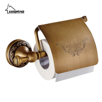 Brass Toilet Paper Holder Pvd Ti Flower Antique Brushed European Bathroom Toilet Paper Holder Tissue Holder Wall Mounted AC