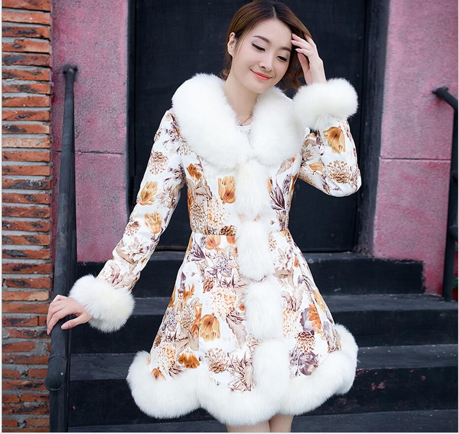 Korea Style New Fashion Women Coat Heavy hair collar Super Warm Medium long Down jacket Big yards Slim Leisure Cotton Coat G2155