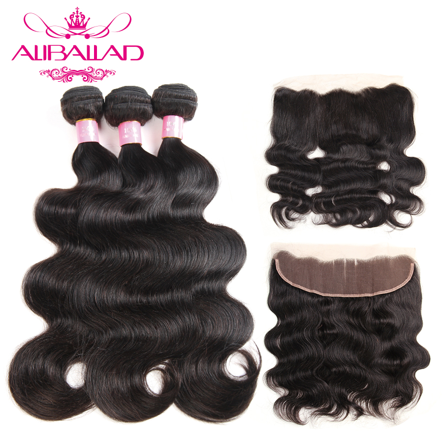 Aliballad Brazilian Body Wave Hair Bundles With Lace Frontal 13x4Inch Closure Non Remy Human Hair 3
