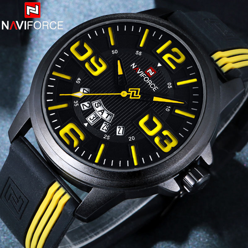 Men Sports Watches Quartz Watch NAVIFORCE Fashion Casual Brand Rubber Watches For Men Waterproof Wristwatches Relogio Masculino цена