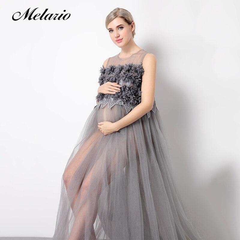 Melario платье для беременных 2018 для беременных Подставки для фотографий для беременных цветочные аппликации платье без рукавов Кружевное лет...