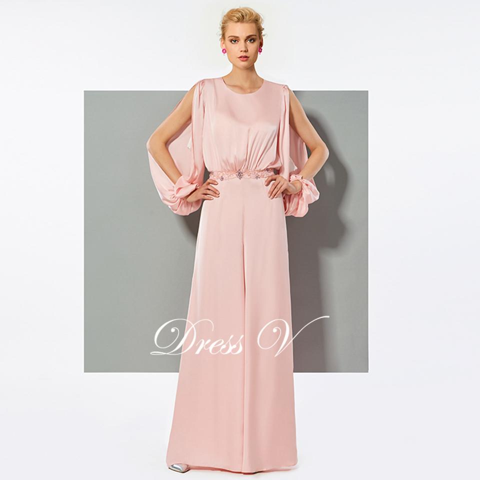 Vestido largo rosado elegante mono vestido mangas largas una línea ...
