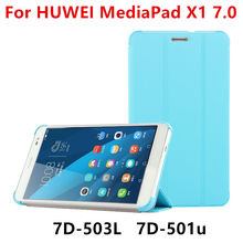 Case para huawei mediapad x1 7.0 protector de la pu cubierta elegante de cuero de la tableta de huawei honor x1 7d-501u 7d-503l cubre protector