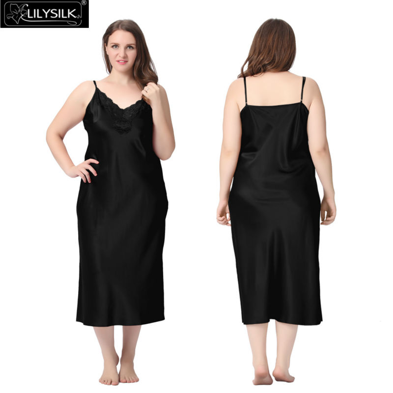 1000-black-22-momme-lacey-neckline-silk-nightgown-plus-size-01