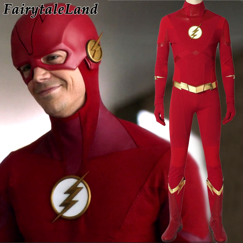 The Flash Season 5 Barry Allen Cosplay Costume superhero Halloween outfit With Accessories for adult Flash