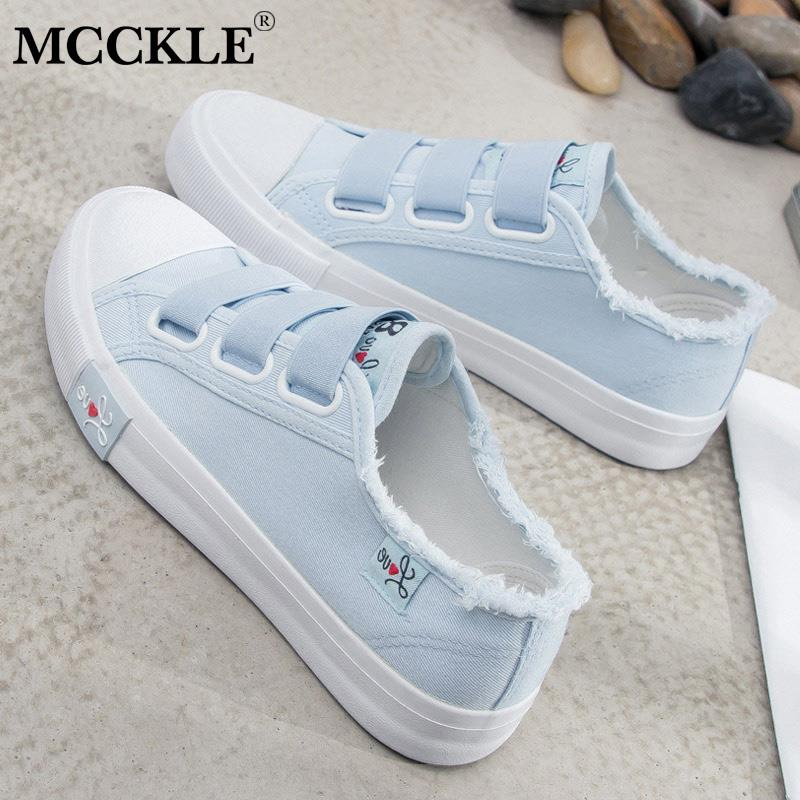 1a4280fe MCCKLE wiosna kobiety mieszkania buty płótnie buty wulkanizowane gumką  klamra platforma mody kobiet mieszkania damskie buty