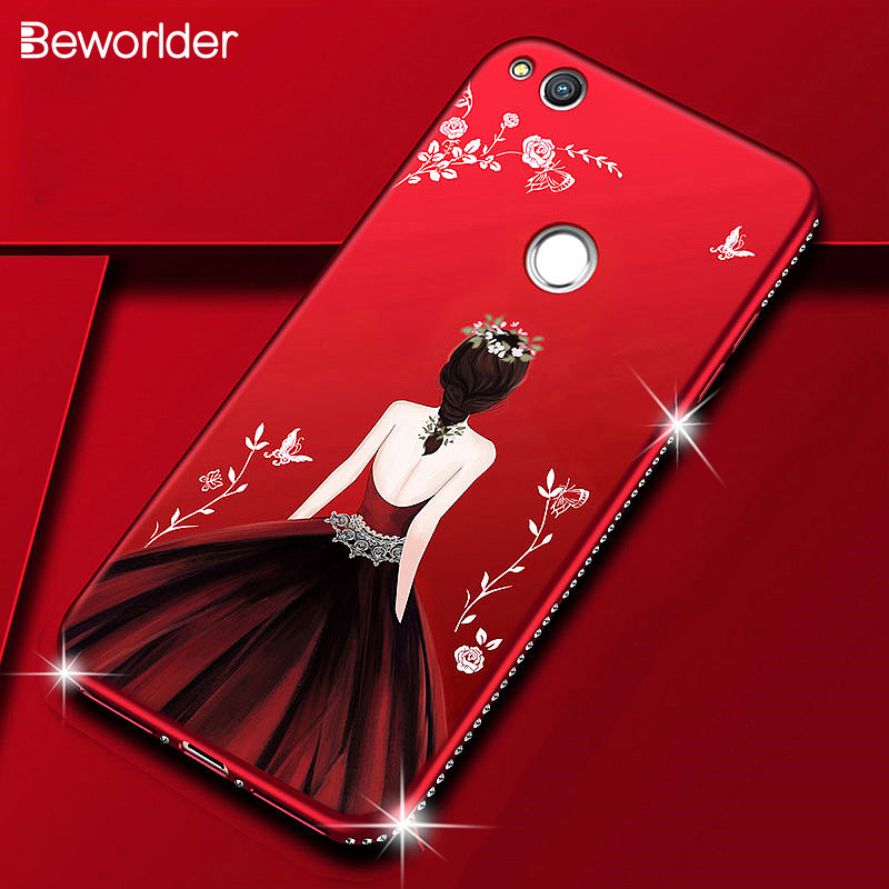 Case For Huawei P8 Lite 2017 Beauty Girls Bling Rhinestone Soft Silicone Cover For Huawei P8 Lite 2017 Case Honor 8 Lite Cases