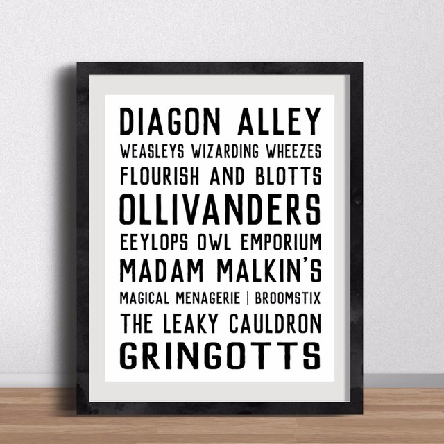 Canvas Art Poster Harry Potter Diagon Alley Shops Street Signs, Wall  Minimalistic Print Art Bedroom