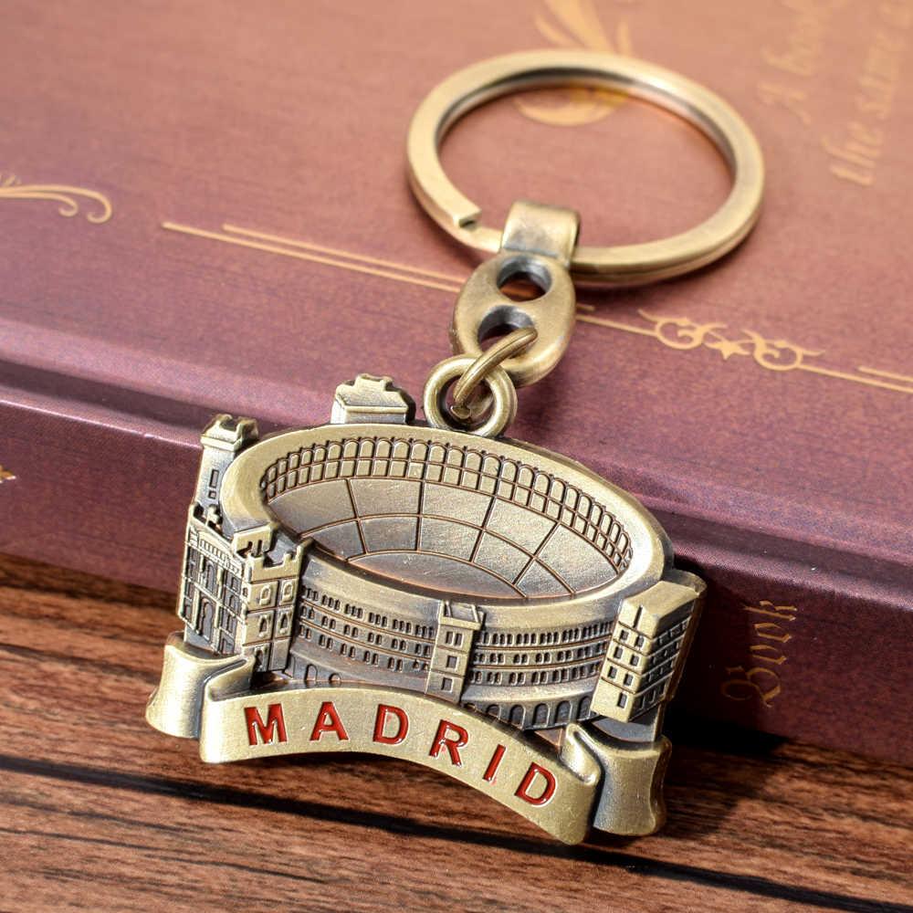 Espanha Las Ventas Praça de Touros Keychain Madrid Touradas Campo Chave Cadeia Para Mulheres Dos Homens de Viagem Espanha Lembrança Presente Para O Amigo