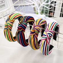 CN Hair Accessories Knitted Knotted Hairband For Women Rainbow Headband Girls Winter Striped Hoop