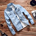 Jacket men spring stretch denim coat of cultivate one's morality men's Jacket printing supreme jackets men clothes north face