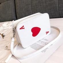 Women Korean Funny Messenger Bag One Shoulder Bag Playing Cards Heart Print Zipper Cubes Crossbody Female Bag heart print glasses bag