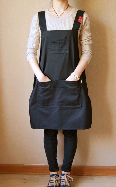 Waterproof thickening plus size black plus size multi-pocket work wear apron restaurant hotel coffee shop