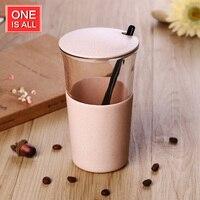 Oneday GYBL186 400ml Female Students Coffee Milk Glass Mug With Creative Wheat Straw Portable Cup Brief