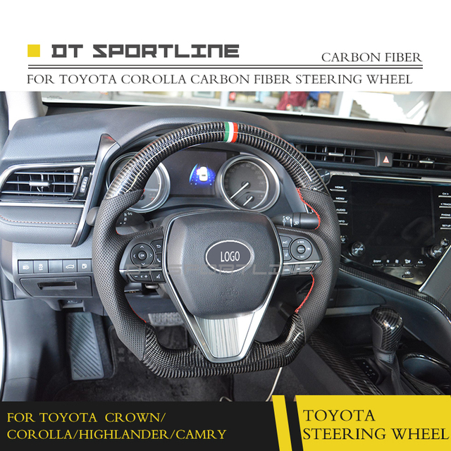 For Toyota Crown Corolla Camry Highlander Carbon Fiber Steering Wheel Replacement Accessories