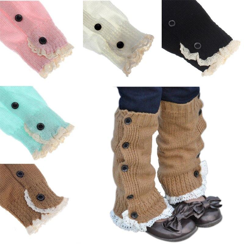 New Kids Crochet Knitted Lace Boot Cuffs Toppers Leg Warmer Winter Warm Leggings Children Leg Warmers Length:32cm