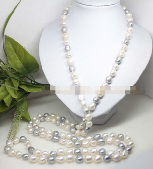 """Jew2584 62"""" long beauty 10-12mm real white gray baroque pearl stone handmade necklace"""