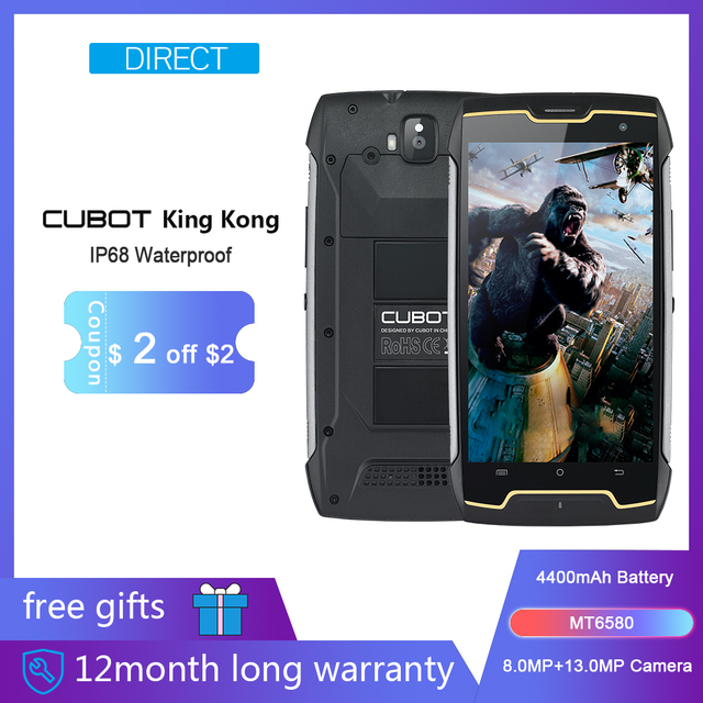 Cubot KingKong IP68 impermeable Smartphone robusto gran batería 4400 mAh 3G Dual-SIM Android 7,0 2 GB RAM 16 GB ROM brújula + GPS MT6580