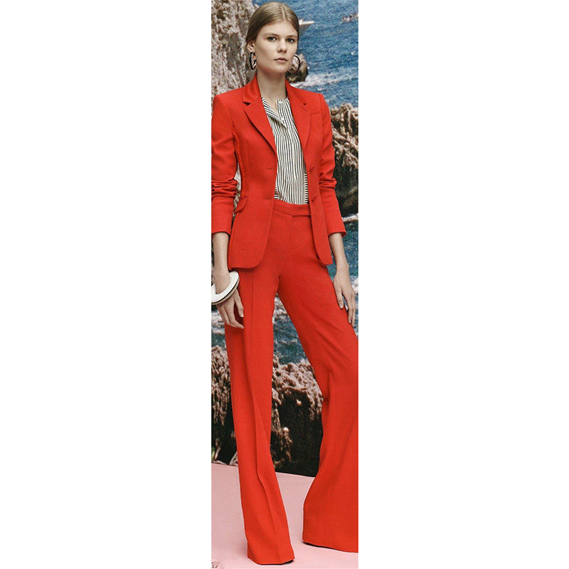 Fashion Red Womens Formal Elegant Pants Suits Female Office Uniform Ladies Trouser Suits Outfits B250