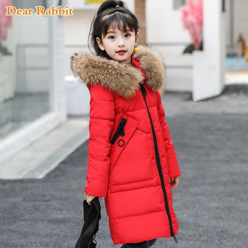 Одежда для девочек до 30 градусов теплый пуховик для девочек, одежда 2019 г. Зимняя утепленная парка детская верхняя одежда с капюшоном и натуральным мехом, пальто