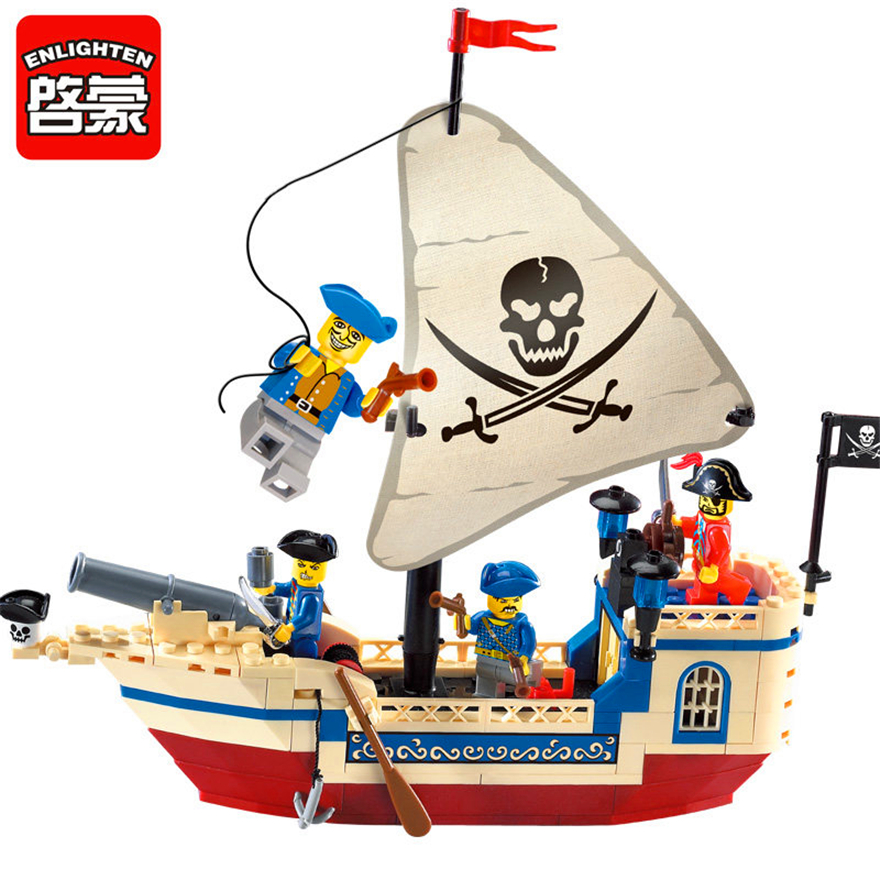 Enlighten 304 188Pcs Pirates Of The Caribbean Bounty Pirate Ship Building Block Toys Figure Gift For Children Compatible Legoe new lepin 16009 1151pcs queen anne s revenge pirates of the caribbean building blocks set compatible legoed with 4195 children