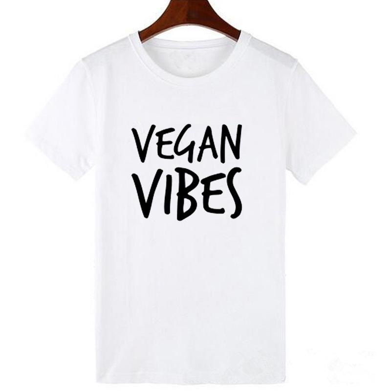 Pkorli VEGAN VIBES Letters Print T Shirt Women Cotton Casual Lady Tumblr T-Shirts For Girl Tops Tshirts Graphic Tees Dropship 11