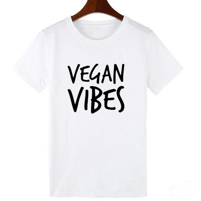 Pkorli VEGAN VIBES Letters Print T Shirt Women Cotton Casual Lady Tumblr T-Shirts For Girl Tops Tshirts Graphic Tees Dropship 11