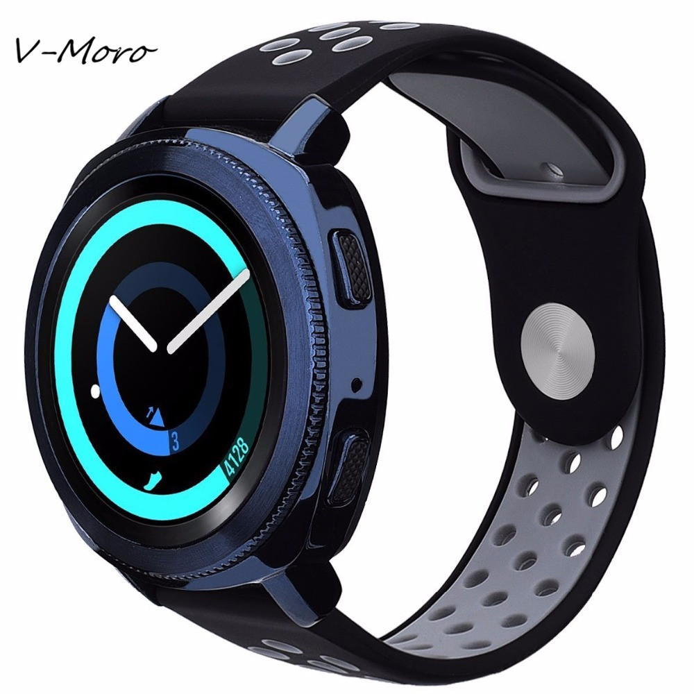Gear Sport Bands V-MORO 2018 New 20mm Soft Silicone Straps For Samsung Gear Sport Bracelet Watch Bands Gear Sport Strap SM-R600 silicone rubber watch band strap replacement smartwatch bands link bracelet for samsung galaxy gear s2 sm r720 black blue red