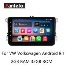 Panlelo S8 زائد أندرويد 8.1 ستيريو سيارة لفولكس واجن 2 الدين مشغل وسائط متعددة الموسيقى فيديو 1080P لتحديد المواقع والملاحة راديو تلقائي AM/FM