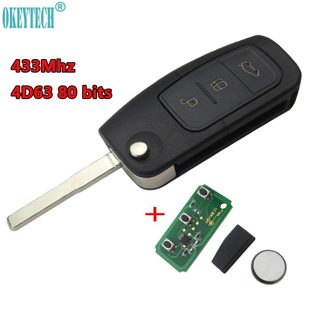 OkeyTech 433 MHz 4D63 80 BITS Chip Keyless Entry Fob Autofernschlüssel 3 Tasten für Ford Mondeo Fokus Fiesta C Max S Max Galaxy
