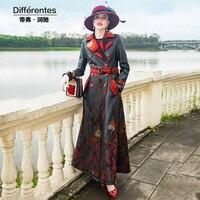 Повседневное черная кожаная куртка Для женщин вышивка цветок пальто Для женщин 2018 осень зима Длинные PU кожаные пальто женские 6989