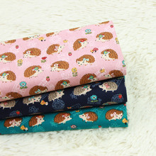 half yard thick cotton fabric with cute little hedgehog print handmade DIY bag mouth gold package cloth 100% T553