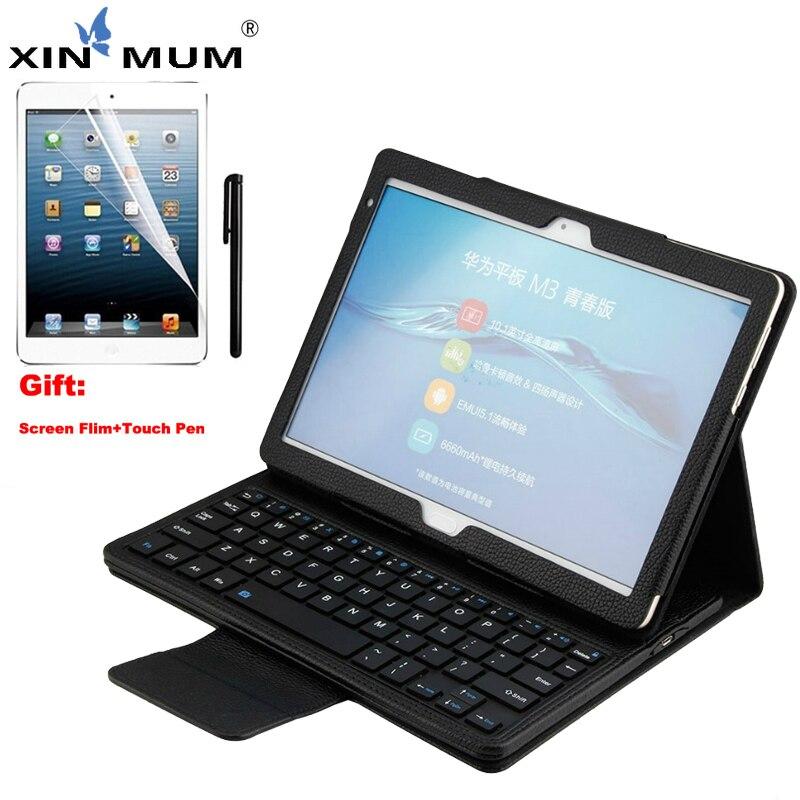 XIN-MUM sans fil étui pour clavier bluetooth pour Huawei Mediapad M3 Lite 10.1 pouces Pu housse en cuir pour Huawei M3 Lite 10.1''